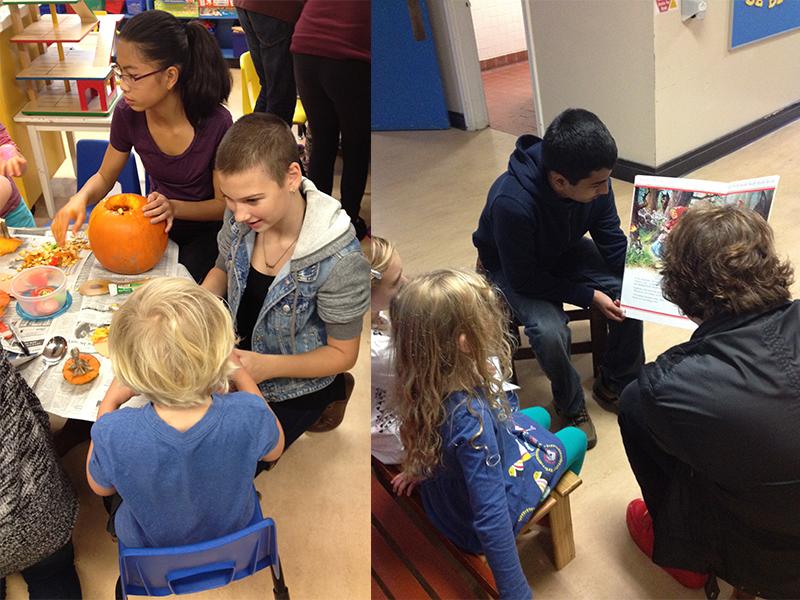 PEP 9 at Cordova Bay Elementary reading stories and carving pumpkins